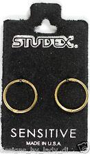 Smooth Sleepers Hinged Gold Plated Hoop Earrings Studex Sensitive 18GA 3/8 Inch