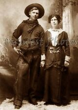 OLD WESTERN COWBOY AND HIS PRETTY COWGIRL WIFE WITH GUN PISTOL GUNBELT PHOTO