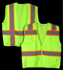2XL ANSI CLASS 2 Reflective Tape High Visibility Neon Green Survey Safety Vest