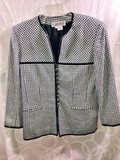 Carlisle Black and White Women's Size: 12 Long Sleeve Checkered Button Up Coat