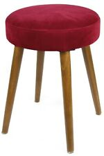 Taburete Glam asiento color rojo terciopelo dormitorio vestidor salón 49x36 cm