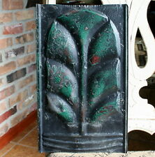 """Antique Roofing Tin Tile - 8.5"""" x 14"""" -- Black Paint with Dark Green Highlights"""
