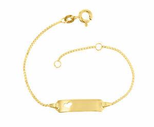 Kinder ID Armband 585 Gold 14cm Gelbgold 14 Karat 5.54310HERZ Gravur u. Versand