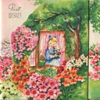 VINTAGE GARDEN PINK ORANGE WHITE FLOWERS PRETTY GIRL DIE CUT BDAY GREETING CARD