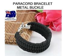 NEW BLACK Camping Hiking METAL  Paracord  Survival Bracelet Cord Wristband