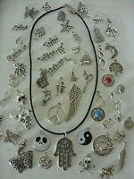 Negro PIEL AUTÉNTICA 43.2cm Cordón Abalorio Plata Tibetano Collar Con Colgante