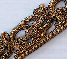 Hand-Beaded Trim. Bronze Bullion Border. Old World Artistry. One Yard.