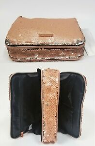 NEW SOPHIA JOY ROSE GOLD METALLIC REVERSIBLE SEQUINS DOUBLE POUCHES,COSMETIC BAG