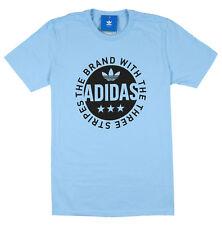 ADIDAS Circle Star Logo T-Shirt sz M Medium Clear Blue Black Ultra Boost NMD