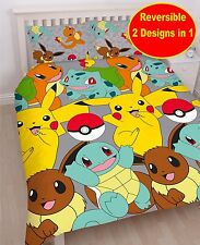 NEW POKEMON GO CATCH DOUBLE DUVET QUILT COVER SET BOYS GIRLS KIDS BED PIKACHU