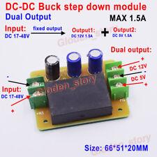 Mini DC-DC Buck Step Down Volt Converter 24V-48V 36V to 5V 12V 1.5A Dual Output