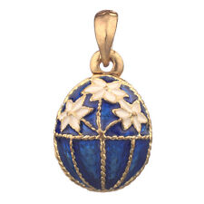 Faberge Egg Pendant / Charm with flowers 2.3 cm blue #5701-11