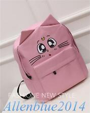 Anime Sailor Moon Luna Cat Ears Girl's Kawaii Backpack Canvas SchoolBag Harajuku