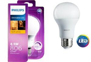 Philips 8.5W LED Warm White Screw Light Globe Bulb Dimmable 806 Lumens 60W Equiv