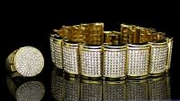 Mens 2pc Set Dome Bracelet Round Ring 14k Gold Plated Hip Hop Fashion