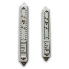 Gold And White Embossed With Hebrew Script Mezuzah Scroll Case (5 Pack) - 4.
