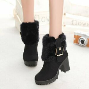 Womens Warm Faux Fur Chunky High Block Heel Buckle Ankle Boots Zip Up Plush Shoe