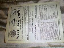 West Ham United Football Reserve Fixture Programmes (1950s)