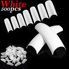 500x Artificial French False Acrylic Nail Art Tips White Nails UV Gel UK