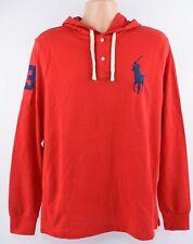 Polo Ralph Lauren Para hombres con capucha Big Pony superior, algodón piqué, Retro, Rojo Talla M