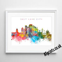 SALT LAKE CITY SKYLINE MAP Print Poster Watercolour Framed Canvas Wall Art Gift