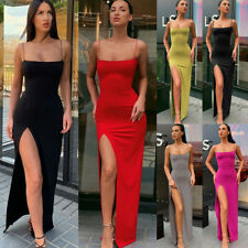 UK Womens Sexy Strappy Slim Fit Evening Party Bodycon Side High Split Long Dress