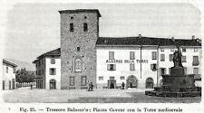 Trescore Balneario: Torre Suardi. Bergamo. Stampa Antica + Passepartout. 1898