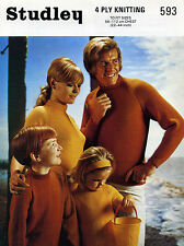 """Studley Vintage 4 Ply Knitting Pattern 593 Family Sweaters 22"""" - 44"""""""
