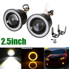 "2X 2.5"" Inch Car Projector LED Fog Light Amber COB Halo Angel Eye Ring Bulb Lamp"