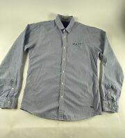 Scotch & Soda Haves & Waves Sz L Blue Striped L/S 100% Cotton Button Shirt