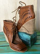NEW Free People tan brown leather Laser Cut Leather Lace Up Wedge Sandals 8.5