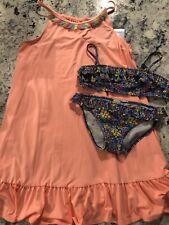 Zara Girls Trending Floral Ruffled Bikini Size 9/10 140 Worn Once! + Cover Up