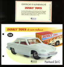 DINKY Toys / Atlas Sheet And Certificate for The Model N°524 Panhard 24 C