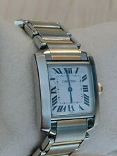 Cartier Watch Tank Francaise 2301 - Silver AND Gold Chain - Retail Value $5,500