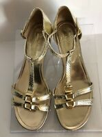 Enzo Angiolini Womens Size 7M Gold Strappy Sandals Shoes Ankle Strap NWOB Flats