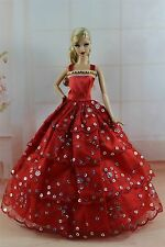 Red Fashion Princess Dress Wedding Clothes/Gown For Barbie Doll S296
