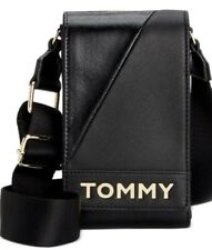 Tommy Hilfiger Cassie Phone Crossbody xbody iphone case bag strap black gold new