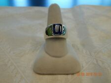 Imitation emerald shaped blue sapphire men's ring, sterling silver, size 10