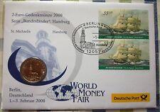 2 € Gedenkmünze Numisbrief 2008 Serie Bundesländer HAMBURG Deutsche Post BRD - J