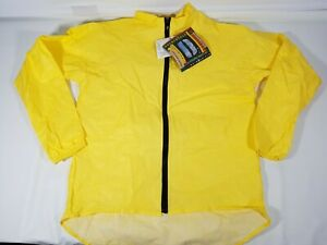 O2 Hooded Rainproof / Windproof Jacket 3M Propore Drop Tail Yellow Sz Large NWT