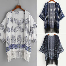 Women Tassels Hem Print Floral Beach Boho Loose Coat Blouse Open Cardigan Kimono