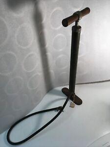 Vintage Air Pump Cast Iron Base Steel Shaft Wood Handle Made in Racine Wis.