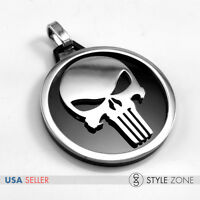 NEW Stainless Steel Punisher Jewelry Circle Ring Skeleton Skull Head Pendent 14S