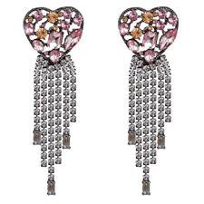 Tassel Pendant Statement Earrings Gifts New Trendy Women Bohemian Heart Crystal