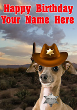 Italian Greyhound Dog j717 Cowboy Sheriff Fun Cute Personalised Birthday Card