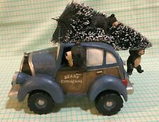 Christmas Bears In Vintage Lighted Car With Christmas Tree, Xmas Table To Decor