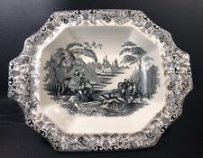 """19th Century T. Walker Ironstone Serving Bowl Mulberry """"Tiger Hunt"""" Rare (2)"""