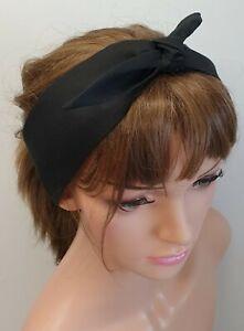 Black headband self tie 50's retro head scarf cotton bandanna rockabilly hair