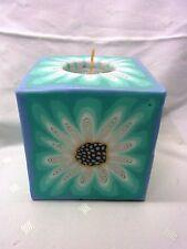 Swazi Kerze Margharita blau Afrika  Fair Trade 9 x 9 cm