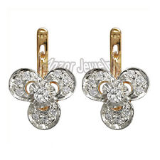 RUSSIAN VINTAGE STYLE GENUINE DIAMOND EARRINGS IN 14K ROSE AND WHITE GOLD E972.